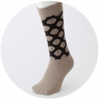 % SOCKS DOT Beige 90% Dark Brown 10%