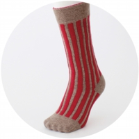 % SOCKS STRIPE Red 90% Brown 10%