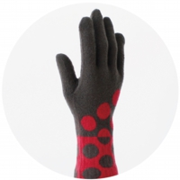 % GLOVES DOT Dark gray 80% Red 20%