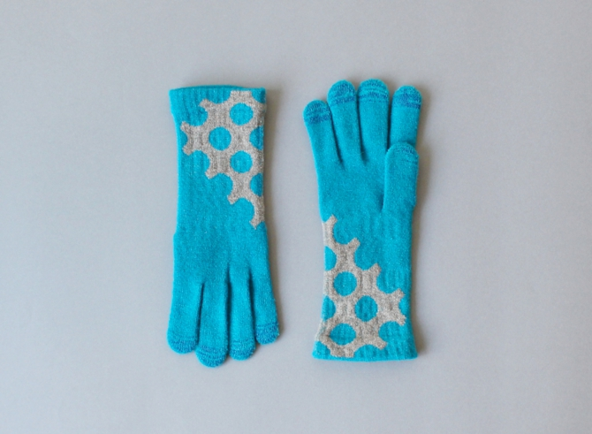 % GLOVES DOT Blue 80% Gray 20%