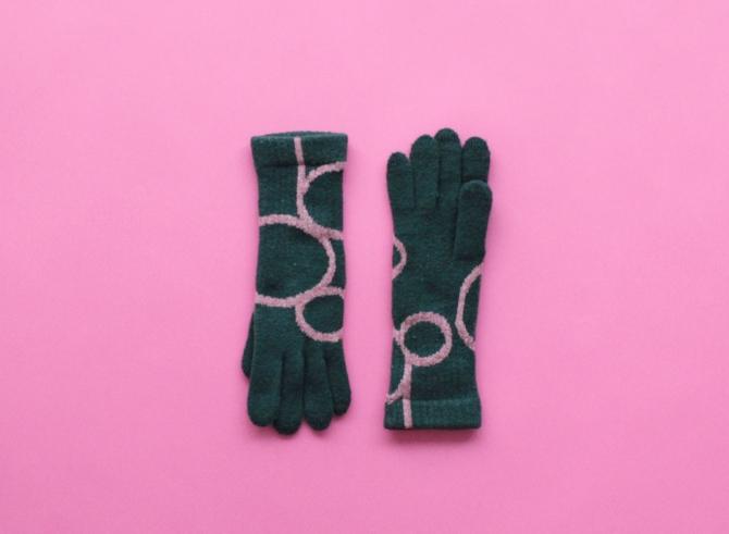 % GLOVES CONNECT – Dark green 90% Dark pink 10%