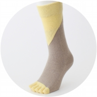 % FIVE TOE SOCKS BLOCK Beige 70% Yellow30%