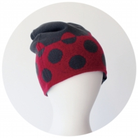 % KNIT CAP DOT Dark gray 80% Red 20%