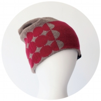 % KNIT CAP DOT Brown 60% Red 40%