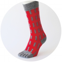 % FIVE TOE SOCKS LINE Red 60% Gray 40%