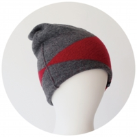 % KNIT CAP BLOCK Gray 80% Red 20%