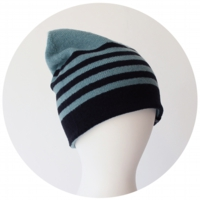 % KNIT CAP STRIPE Mint green 70% Black 30%