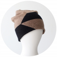 % KNIT CAP BLOCK Brown 80% Black 20%