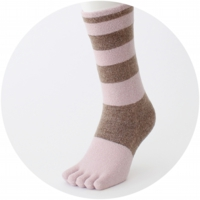 % FIVE TOE SOCKS STRIPE Brown 60% Pink 40%