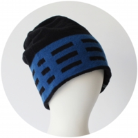 % KNIT CAP LINE Black 70% Blue 30%