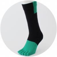 % FIVE TOE SOCKS BLOCK Black 70% Green 30%
