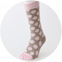 % FIVE TOE SOCKS DOT Pink 70% Brown 30%