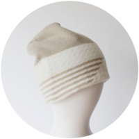 % KNIT CAP STRIPE Beige 70% White 30%
