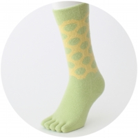 % FIVE TOE SOCKS DOT Light green 90% Yellow 10%