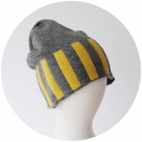 % KNIT CAP STRIPE Gray 80% Yellow 20%