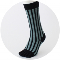 % FIVE TOE SOCKS STRIPE Green 90% Black 10%