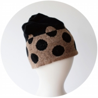 % KNIT CAP DOT Black 80% Brown 20%