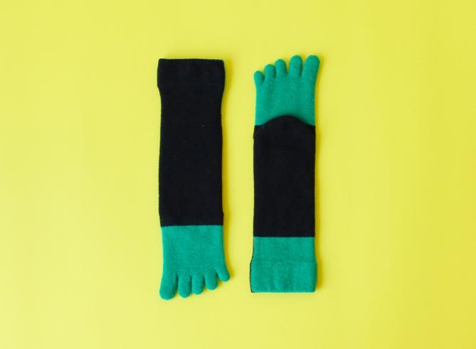 % FIVE TOE SOCKS BLOCK Black 70% Green 30%