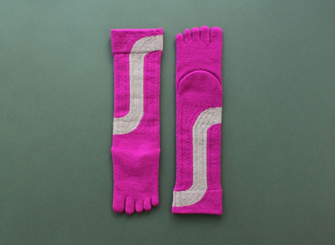 % FIVE TOE SOCKS LINE Light purple 80% Gray 20%