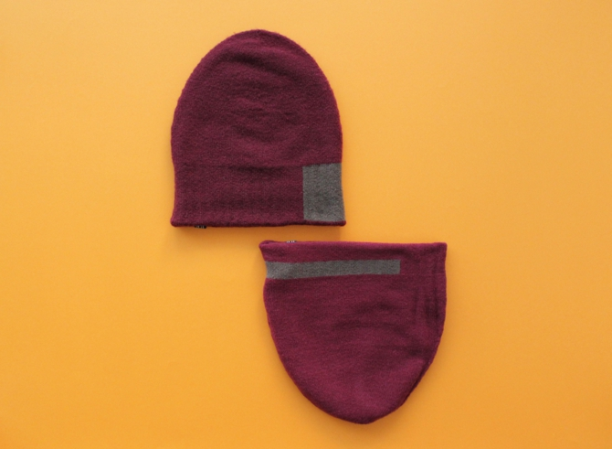 % KNIT CAP LINE Wine red 90% Brown 10%
