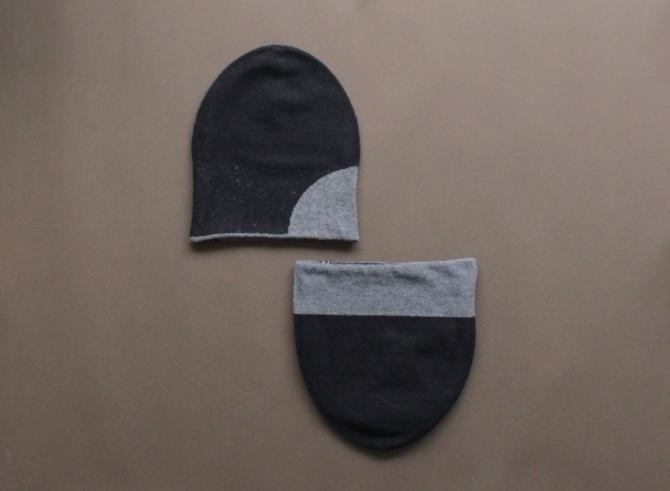 % KNIT CAP BLOCK Black 90% Gray 10%