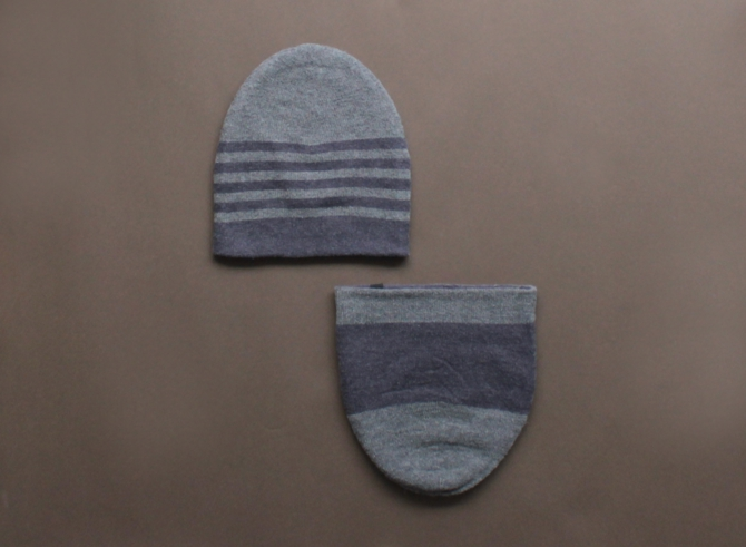 % KNIT CAP STRIPE Gray 70% Navy 30%