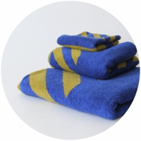 % TOWEL STRIPE  Blue 50% Yellow 50%