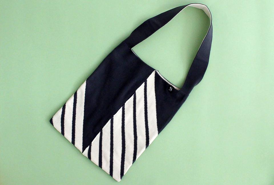 % SHOULDER BAG STRIPE Dark gray 60% Ivory 40%