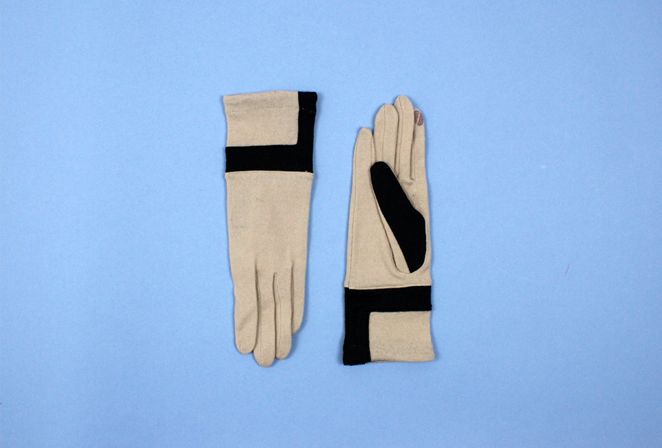 % Jersey Gloves LINE Beige 90% Black 10%
