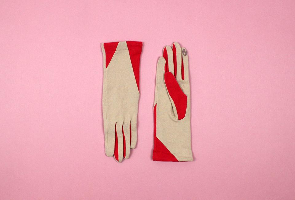 % Jersey Gloves POLYGON Beige 90% Red 10%