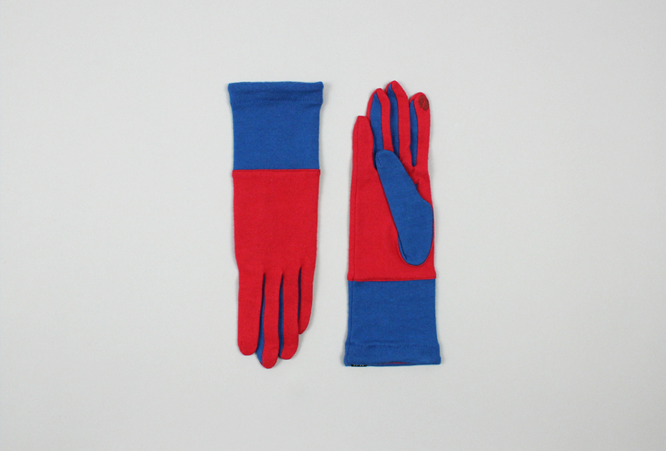 % Jersey Gloves BLOCK Red 60% Blue 40%