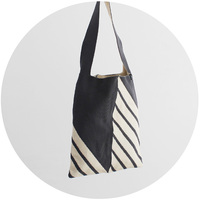 % SHOULDER BAG STRIPE Dark gray 60% Ivory 40%